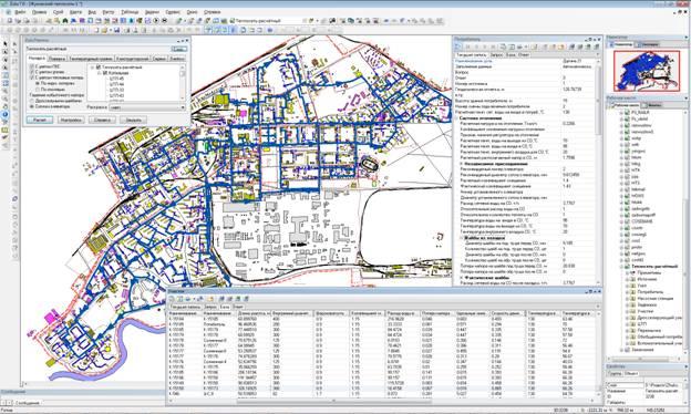 Расчётная схема-электронная модель системы теплоснабжения города. Общий план